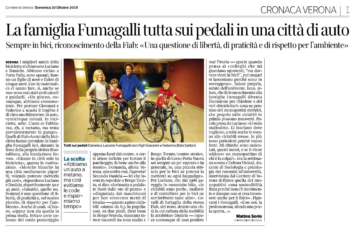 Articolo-intervista pubblicato dal Corriere di Verona - Domenica 20 ottobre 2019